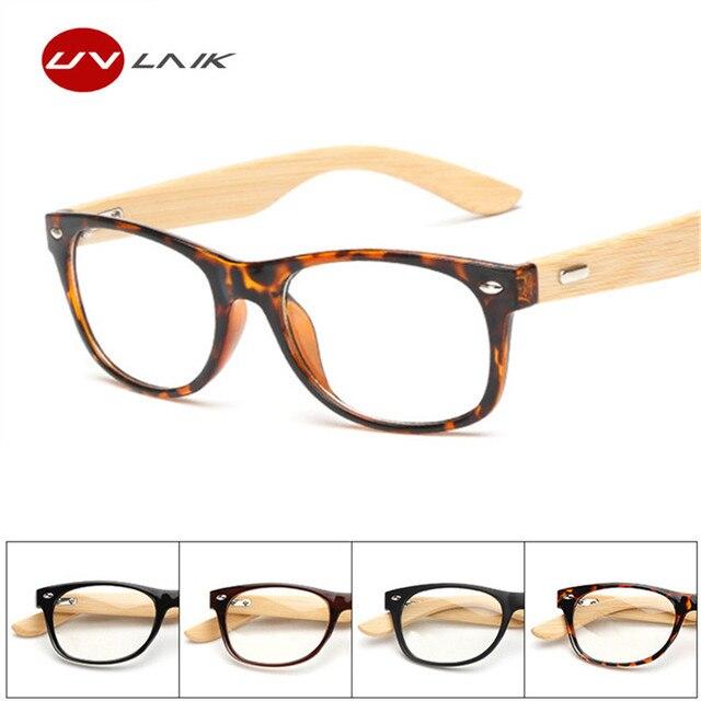 7d4c021a511a4 UVLAIK Óculos Limpar Lens óculos de Miopia Prescrição Óptica Óculos Das  Mulheres Dos Homens De Madeira