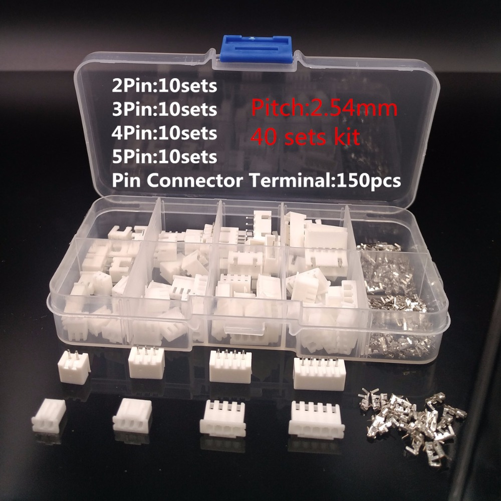 New Boxed 40 sets Kit 2p 3p 4p 5 pin 2.54mm Pitch Terminal / Housing / Pin Header Connector Wire Connectors Adaptor XH Kits #002