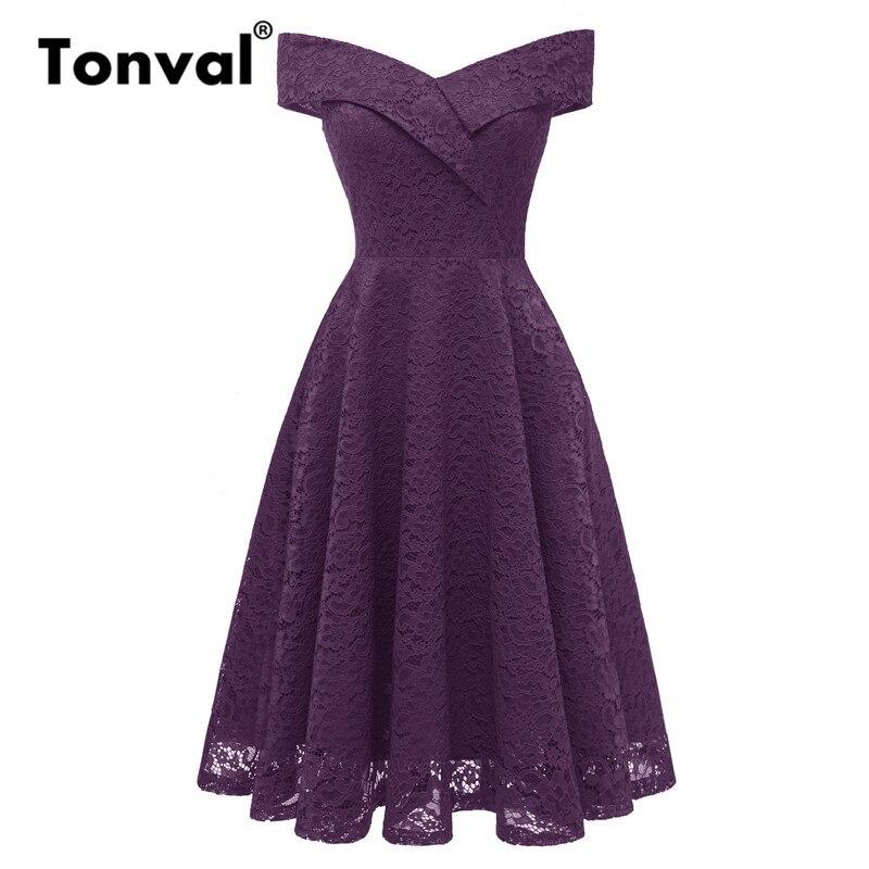 905999d5b39 Tonval Винтаж фиолетовое платье Sexy V средства ухода за кожей Шеи с  открытыми плечами женское вечернее элегантное