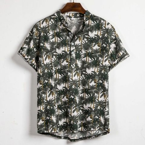 Men Linen Short Sleeve Shirt Summer Floral Loose Baggy Casual Holiday Shirts Tee Tops Islamabad