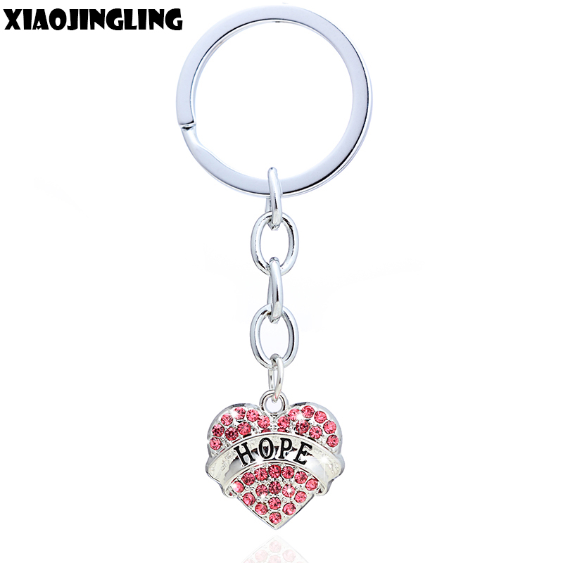 XIAOJINGLING Fashion Crystal Heart Keychain HOPE Charm Gril Women Jewelry Handbag Keyring Graduation Gifts Car Key Accessories