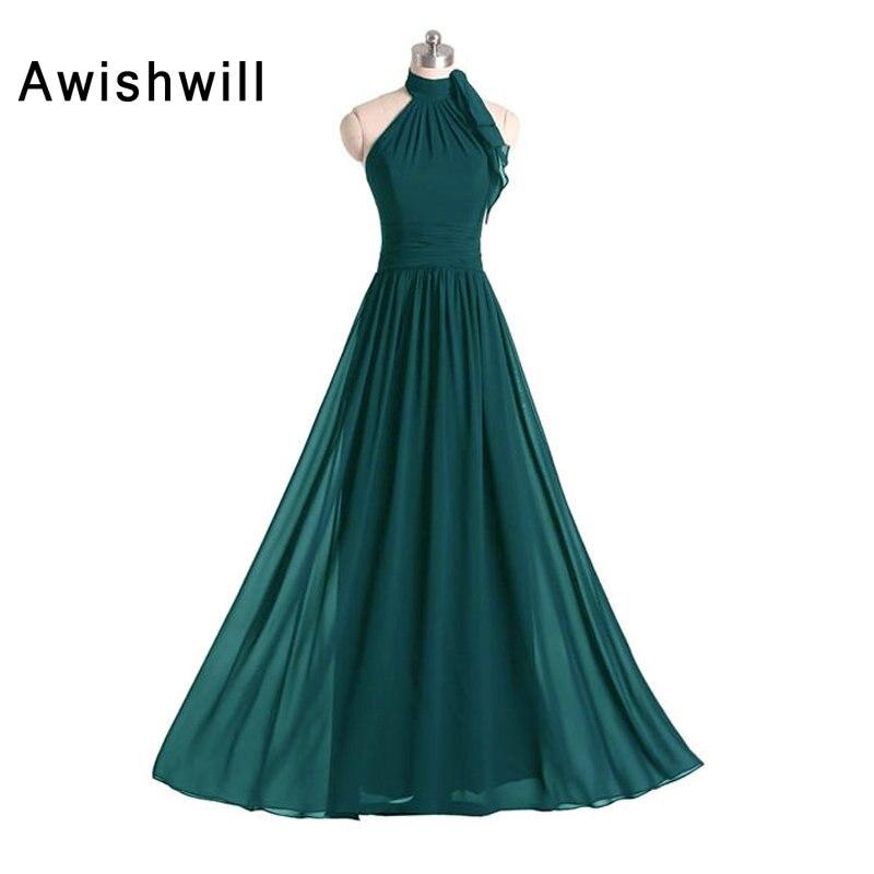 Photo réelle robe de demoiselle d'honneur Vestido Madrinha décolleté licou froncé une ligne en mousseline de soie robe d'invité de mariage filles robes de demoiselle d'honneur
