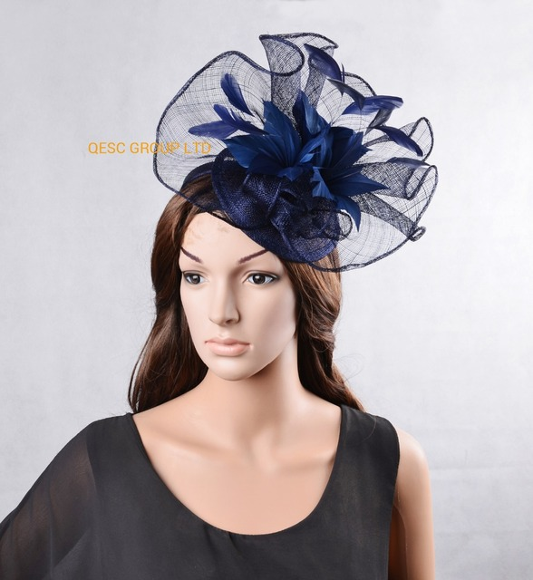 e1f35f7225d NEW Navy blue Big Sinamay fascinator hat with feather flower for melbourne  cup
