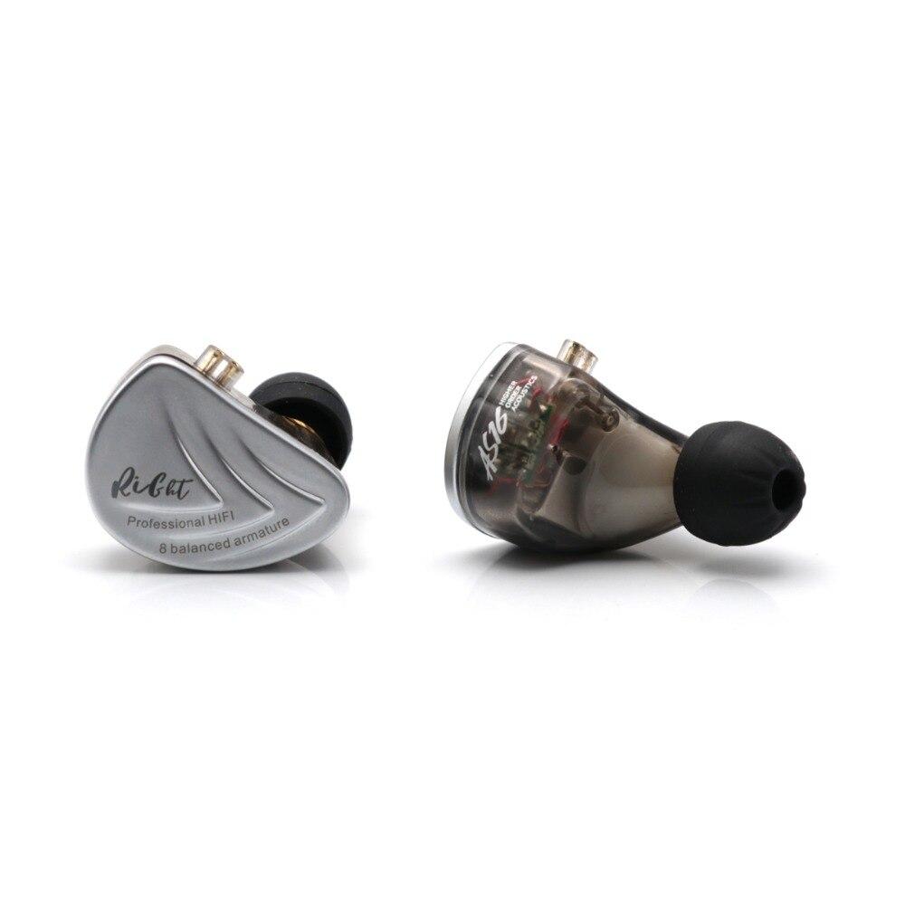 Kz as16 8ba 8 armadura balanceada driver iem estéreo de alta fidelidade fone de ouvido fone de ouvido fone de ouvido de alta resolução com 0.75mm 2 pinos cabo - 2