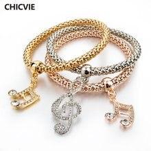 Chicvie серебряный цвет брикет браслеты для женщин роскошные