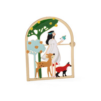 2018 New Cartoon Princess Deer Tree Bird Brooches For Women Enamel Glaze Statement Luxury Brooch Party Jewelry