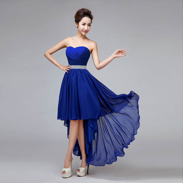 9b086aee56 placeholder High Low Bridesmaid Dress Royal Blue Chiffon Pleat Crystal  Waist Swallowtail Sexy Homecoming Prom Gown Vestido