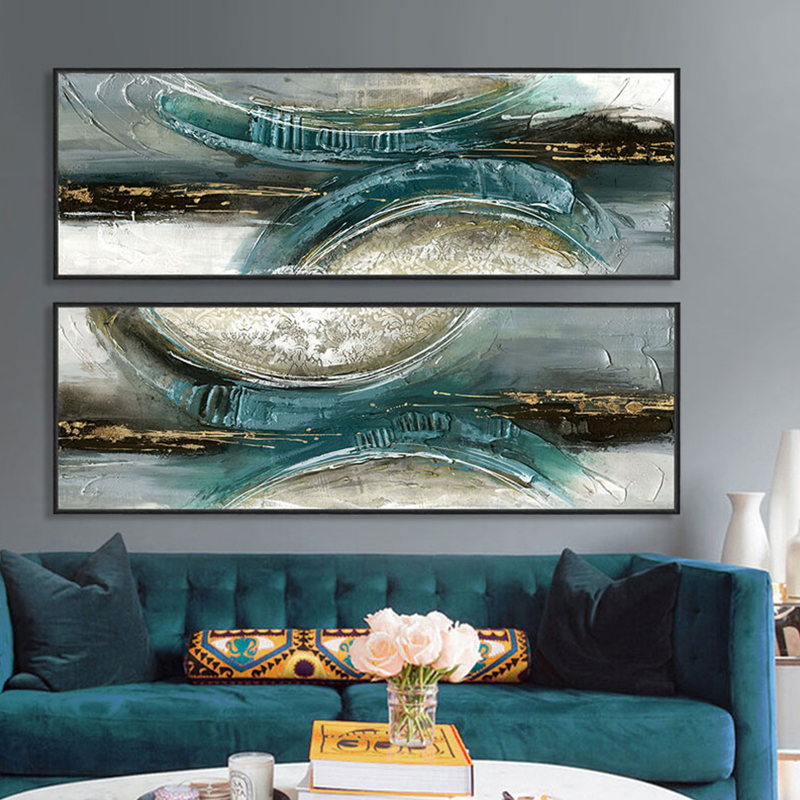 Modern Abstract Painting Horizontal Rectangle Long Posters Prints Canvas Wall Art Living Room Pictures