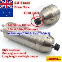 [EU SHIP] 3.5KW Waterproof Water Cooled Spindle Motor ER20 Bullet 4 Bearings Carved Metal 220V / 380V 12A 400HZ CNC Processing