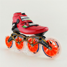 Carbon Fiber Professional Inline Speed Skates Shoes Adults Kids Game Special Racing Shoes 4 Wheels Roller