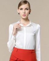 Silk flower colour temperament long sleeve women's large size shirt spring silk lapel shirt 1 white