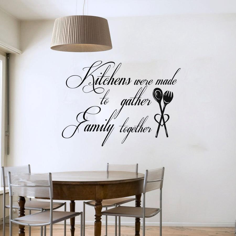 cocina se hicieron para reunir familia palabras arte de la pared calcomanas de vinilo impermeable de