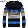 Aolamegs Sweater Men Color Striped Pullovers Male 2016 Knitted Sweter Hombre Fashion Casual Autumn Winter Mens Sweater Plus Size