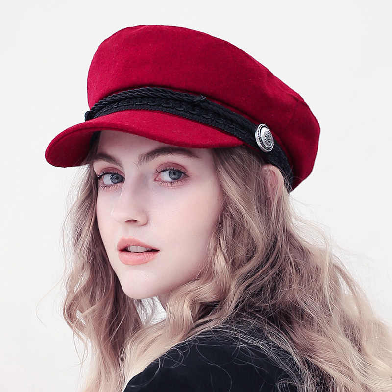 ... Fashion Winter Wool Beret Hat Women 2018 Autumn Black Fiddler Cap Hat  French Style Flat Caps ... db907ef1513