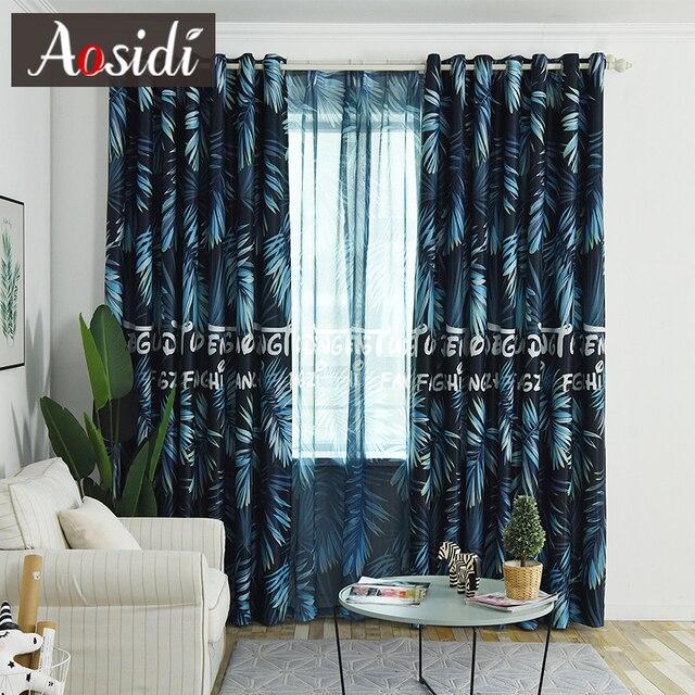 Azul moderno hojas impresas cortinas opacas para sala de estar ...