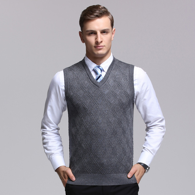 High quality mens plain wool sweater vest casual male v neck ...