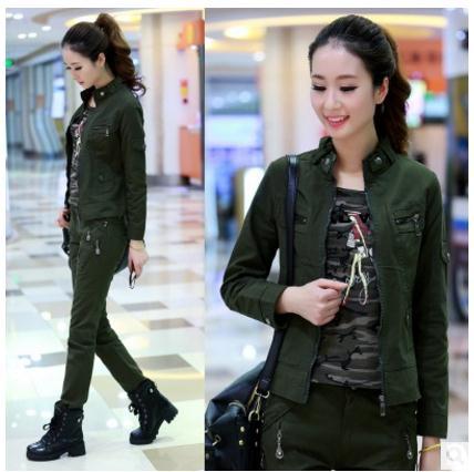 2018 printemps et automne vestes décontracté Section courte armée vert femme manteau Casaco Feminino Jaqueta Feminina S/6Xl J2074
