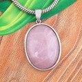 UMY Nueva Moda Plateado Naturales de Cuarzo Rosa de Piedra Oval de Joyería de Moda de Cuarzo Rosa