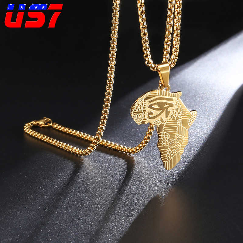 US7 Eye Of Horus Ankh Pendants Africa Map Necklaces Men Stainless Steel Egyptian Religion necklace For Men women Jewelry Gift