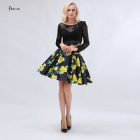 Printing Homecoming Dresses For Short Girls 2016 Vestido De Noiva With Satin Long Sleeve Two Piece