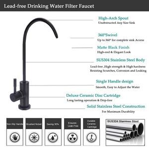 Image 2 - 黒浄水器蛇口 304 ステンレス鋼 RO 濾過飲料水フィルタータップと 1/4 インチチューブクイックコネクタ