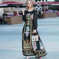 Summer High End Women Fashion Vintage Long Dress 2017 New Printing Maxi Dress Long Sleeved Big