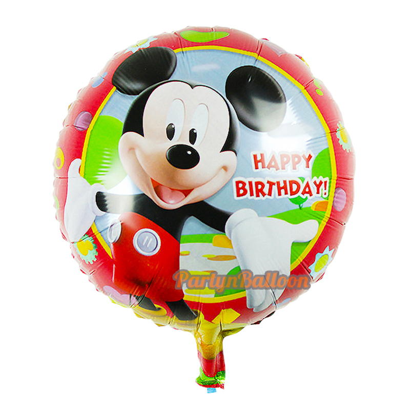 Mickey Cartoon Birthday Balloon, Happy Birthday Letters Foil Wedding Kids Baby P