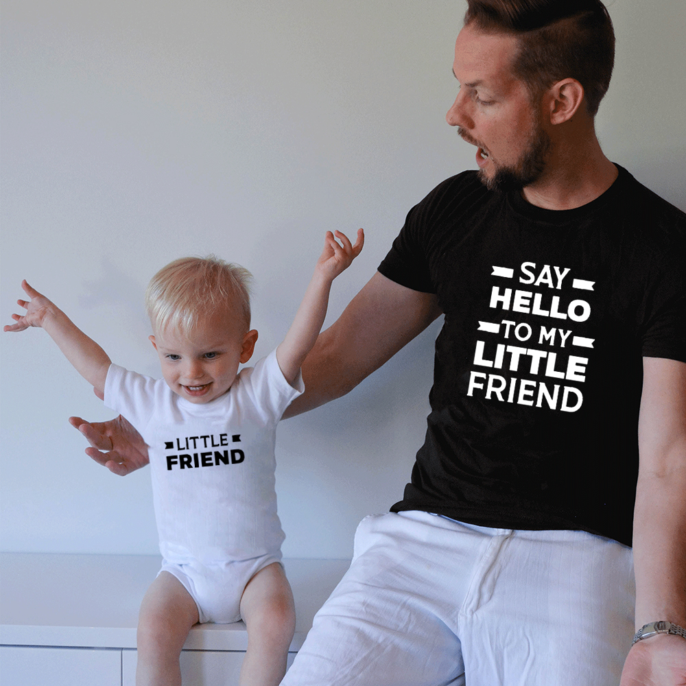 Say Hello To My Little Friend and Little Friend Matching Father Son Shirts Clothes Top Family Match Daddy and Me Shirts Outfit image