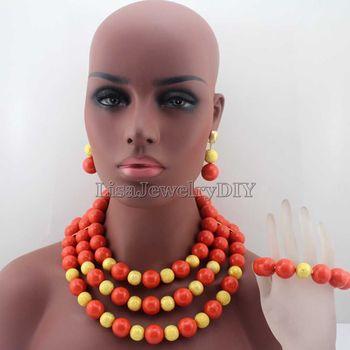 Splendid African Round Orange Beads Jewelry Sets Nigerian Wedding African Coral Beads Jewelry Sett Free Shipping HD7983