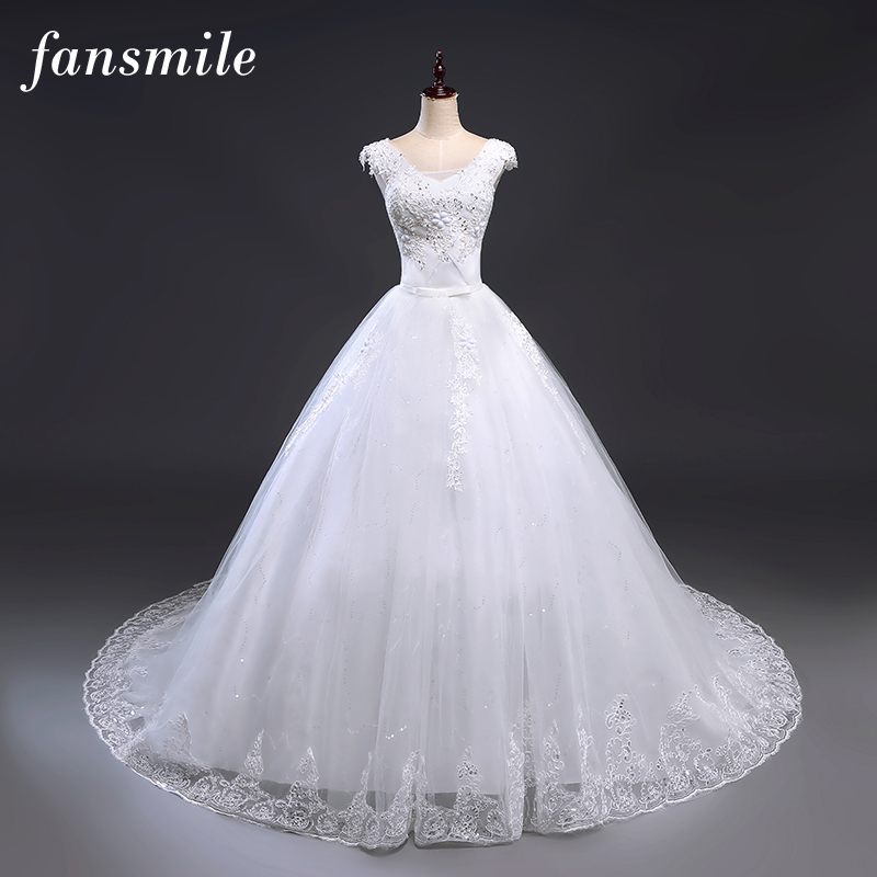 Fansmile Cheap Vintage Lace Up Long Train Wedding Dresses 2019 Plus Size Wedding Gowns Bridal Dress Vestido de Noiva FSM-238T