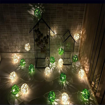 4m 20 Thailand 4cmRattan Balls LED String Fairy lights Garland Green /White for Wedding Christmas Party Decorations