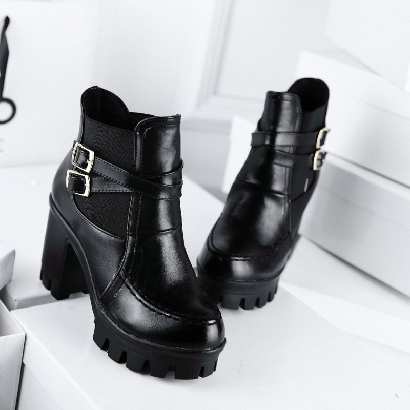 LIN KING New Designer Punk Women Thick Sole Motorcycle Boots ...