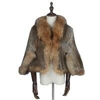 TopFurMall Lady Genuine Real Knitted Rabbit Fur Shawls Raccoon Fur Collar Women Fur Pullover Female Pashmina Wraps LF5023