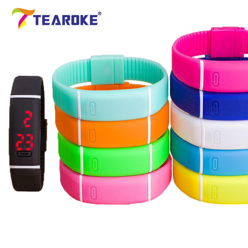 TEAROKE Kids Women Men LED Bracelet Silicone 12 Candy Colors Date Digital Sport Clock Watch Wristwatch Toy Gift for Boys Girls aidis digital led smart bracelet watch men women pedometer and time and temperature display sport silicone wristband 6 colors