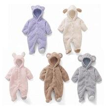 Longsleeve menina coral overall romper rompers jumpsuit costume fleece newborn animal