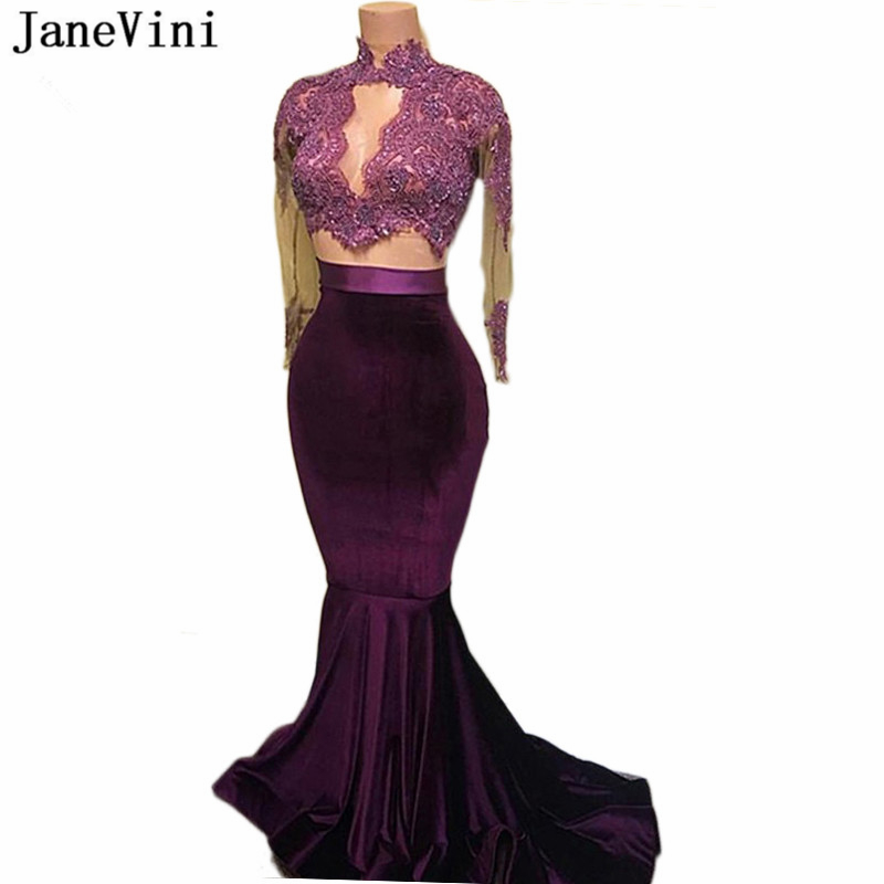JaneVini Sexy Mermaid Purple Prom Dresses 2019 High Neck Long Sleeve Appliques Beads Velvet Prom Two Piece Gown Bestidos De Gala