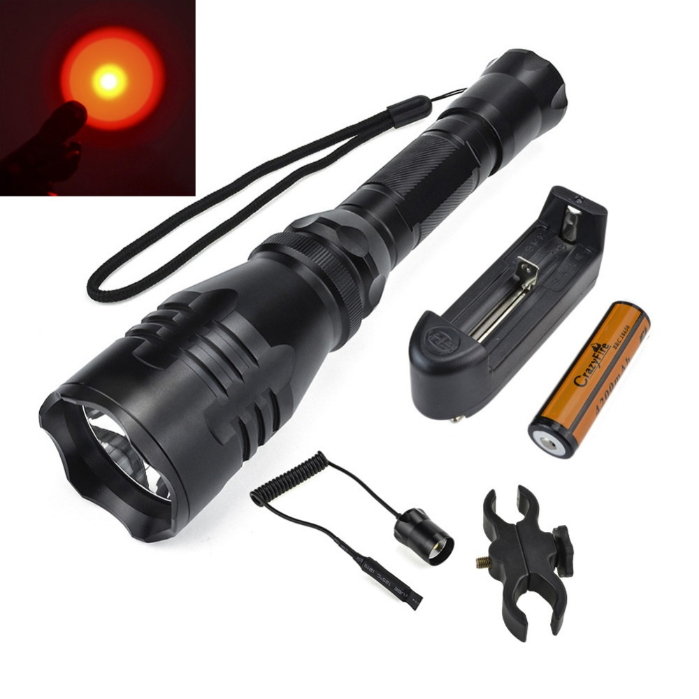 LED Tactical Flashlight Torch Red Light 500M Long Beam Shot Lighting Distance Hunting Lanterna Lampe Torche With USB Charging km 8014a cree q5 led handheld waterproof outdoor tactical flashlight torch long beam distance flashlight searchlight