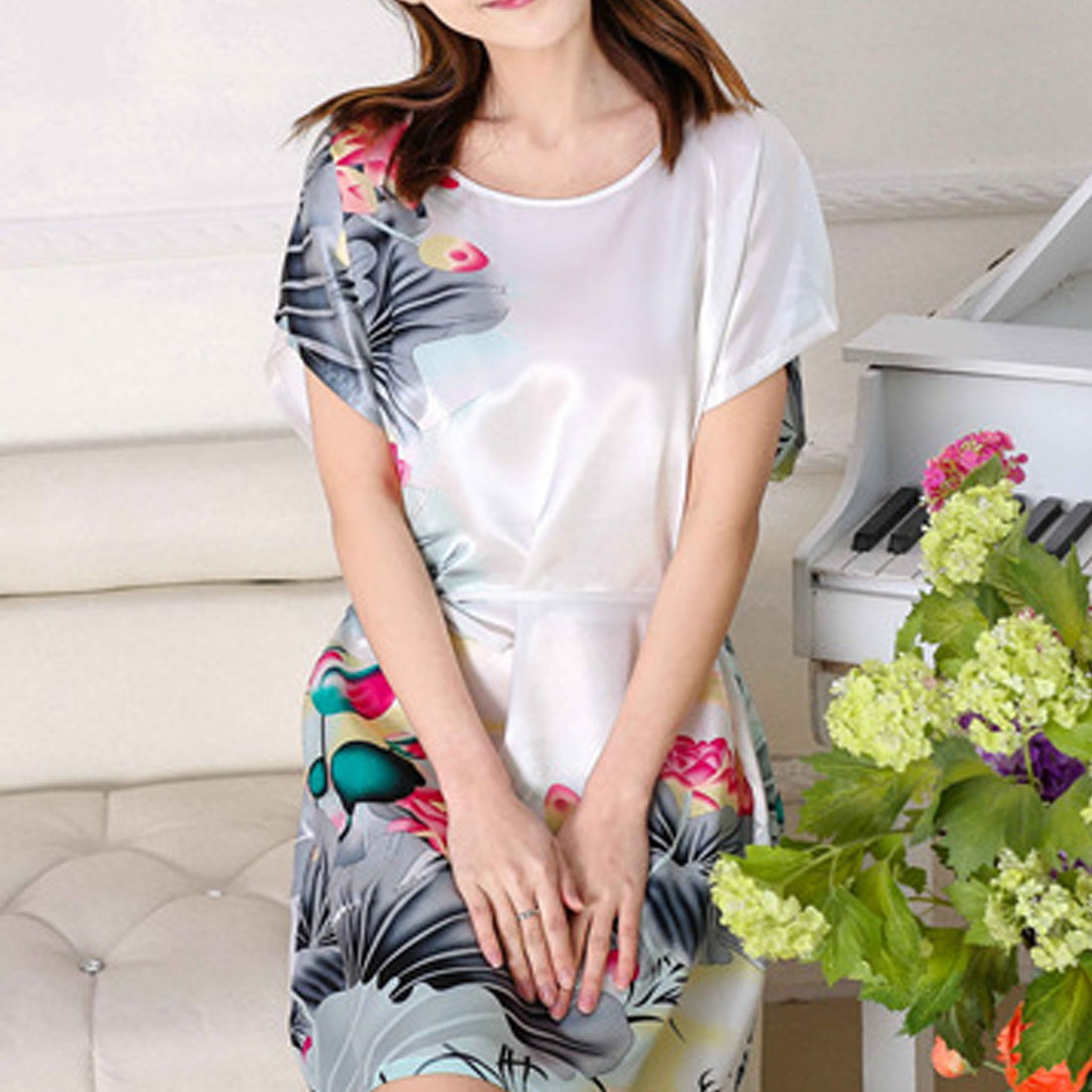 TOP New Style Womens Faux Silk Robe Bath Gown Nightgown Light Blue Sexy Summer Sleepwear Mujer