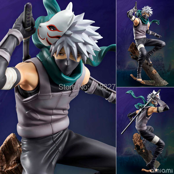 Spot Japan Classic Anime Naruto Dark Hatake Kakashi PVC Action Figure Collectible Toy 24CM With box Free shipping japanese anime figures 23 cm anime gem naruto hatake kakashi pvc collectible figure toys classic toys for boys free shipping
