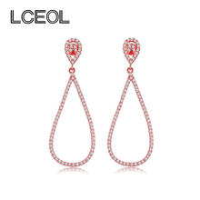 LCEOL  Unique Design Irregular Shape Drop Earring for Charm Lady Mini CZ Diamonds Pave Setting Shiny Earrings for Birthday Party