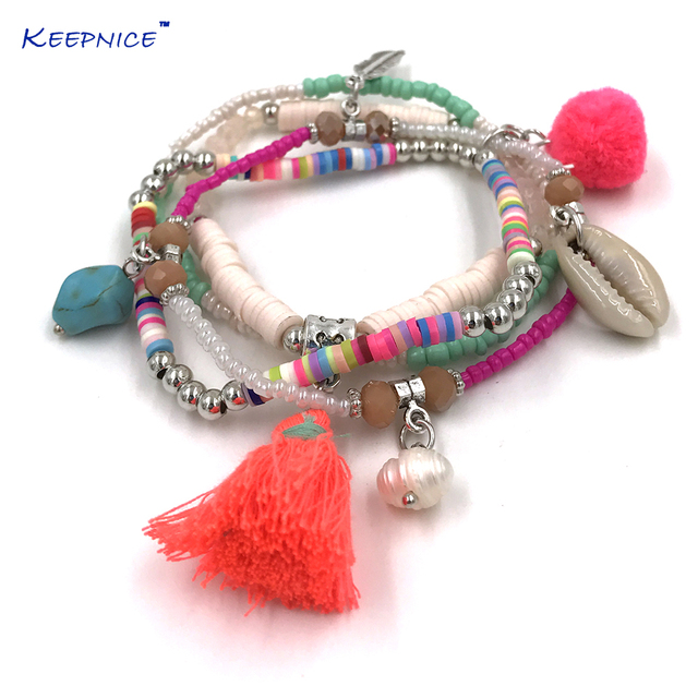 New Bohemia Boho Bracelet Pink Tel Pompom Charms Bracelets Multi Layers Colorful Seed Beaded Chain