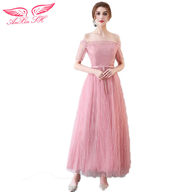 AnXin SH new fashions pink lace Evening dresses short toasts pink ...