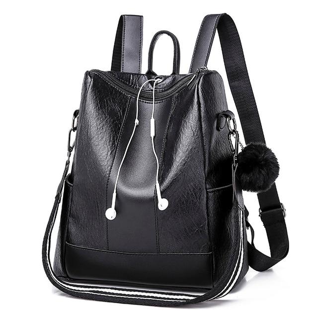 82534427fba 2018 Bolish Headphone plug Travel Backpack Korean Women Female Rucksack  Leisure Student School bag Soft PU Leather Women Bag