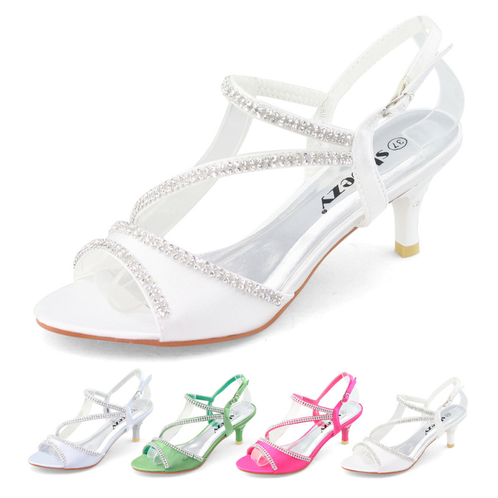 SHOEZY Brand New Low Heel Wedding Party Shoes With Rhinestone Satin Strappy  Diamante Sandal Thin Heels Silver Green White Pink In Womenu0027s Sandals From  Shoes ...