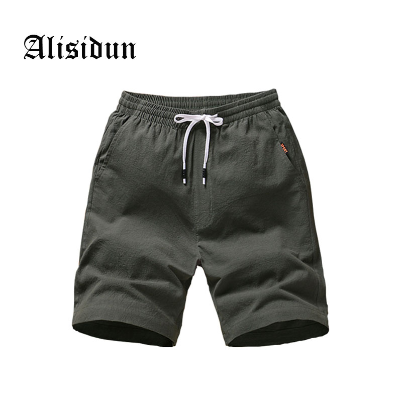 Alisidun 2018 New Summer Shorts Men Casual Bermuda Masculina Mens Cotton Solid Elastic Waist Short Pants Bran Plus Size Q159