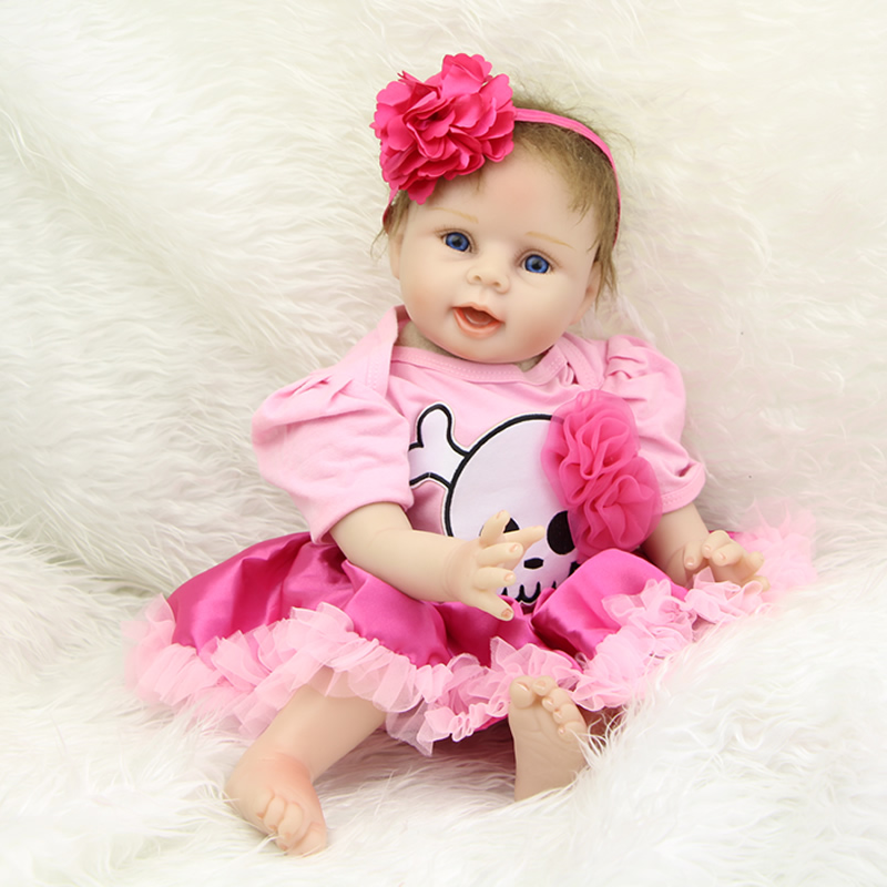 New 22 Inch Reborn Silicone Baby Dolls Girl Lifelike Newborn Babies Dolls Wearing Skull Dress Children Birthday Xmas Gift handmade 22 inch newborn baby girl doll lifelike reborn silicone baby dolls wearing pink dress kids birthday xmas gift