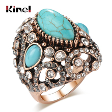 Kinel Luxury Big Antique Rings For Women Fashion Dubai Gold Blue Stone Vintage Wedding Engagement Crystal Jewelry 2018 New