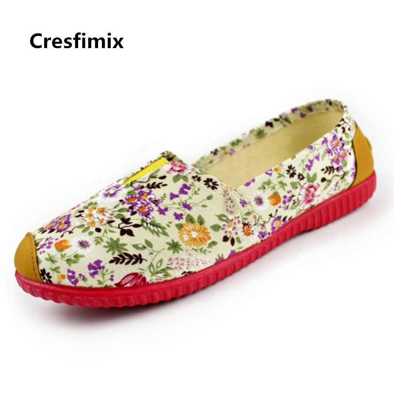 Cresfimix women fashion floral slip on shoes lady casual spring and summer flat shoes sapatos femininos female cool flats cresfimix sapatos femininos women casual soft pu leather pointed toe flat shoes lady cute summer slip on flats soft cool shoes