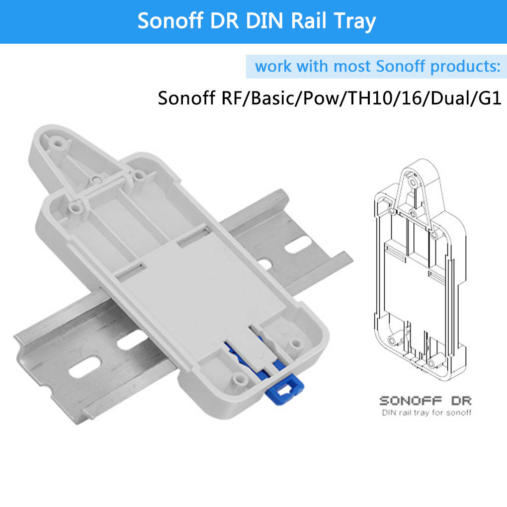 Sonoff DR DIN Rail Tray Adjustable Mounted Rail Case Holder Solution for Sonoff Switch(Basic/TH10/16/Pow/Dual/G1)