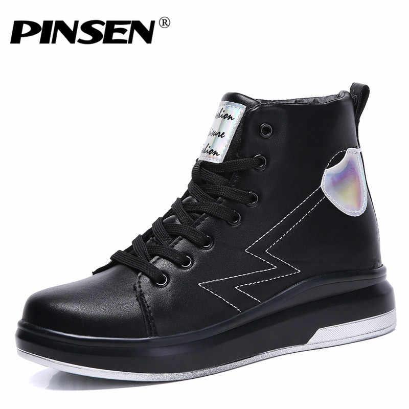 PINSEN 2020 kış kadın çizmeler yüksek kaliteli deri artış yükseltmek su geçirmez kar botları rahat ayakkabılar yarım çizmeler kadınlar için